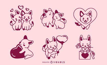 Conjunto de cães de traçado de dia dos namorados