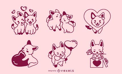 Conjunto de perros de trazo de san valentín.