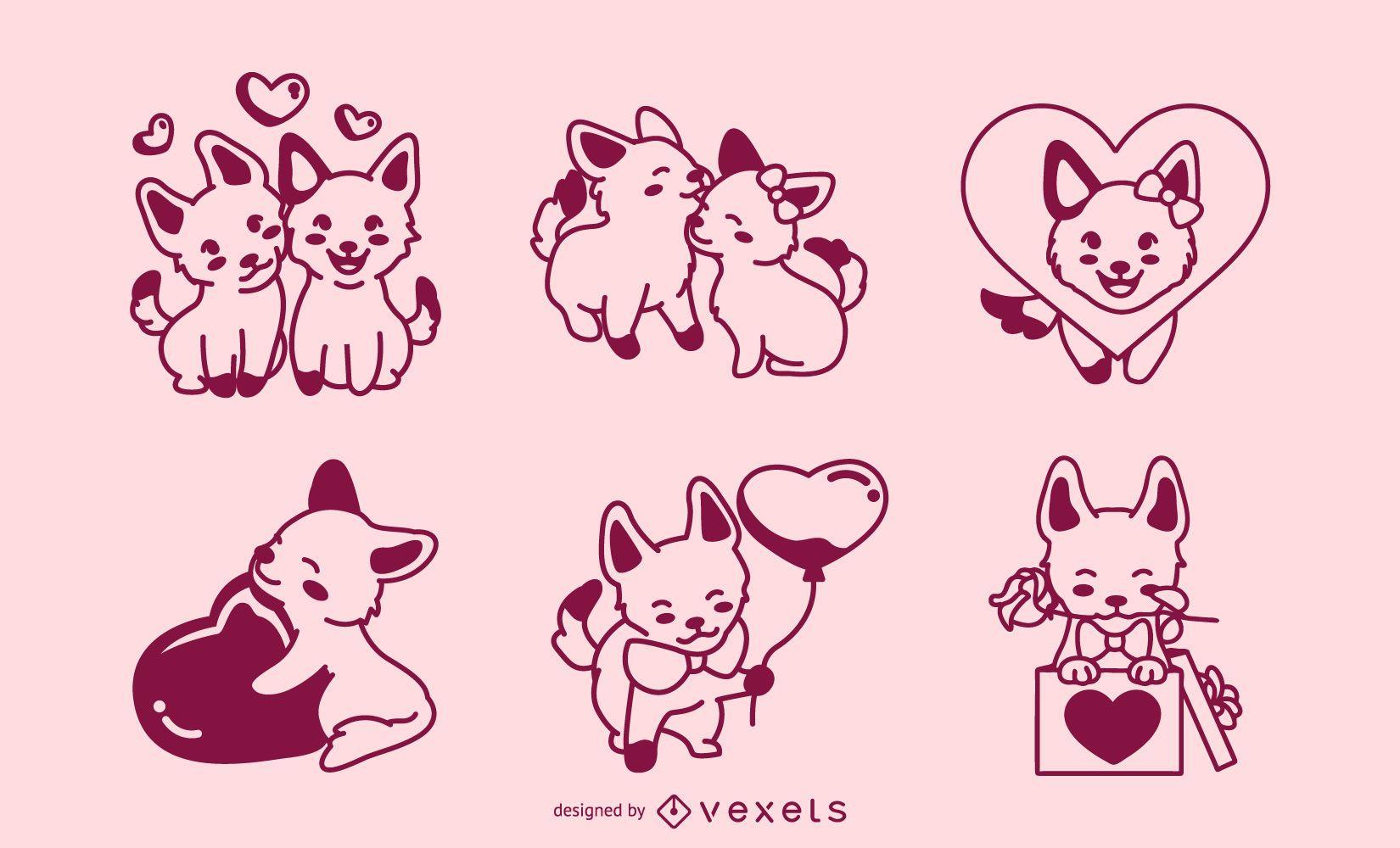 Valentine's day stroke dogs set