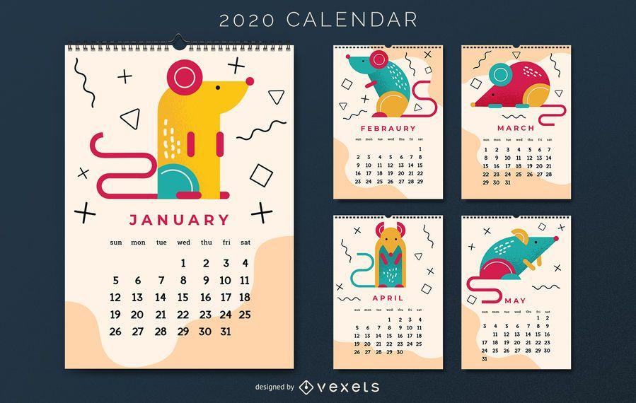 Diseño de calendario de año nuevo chino