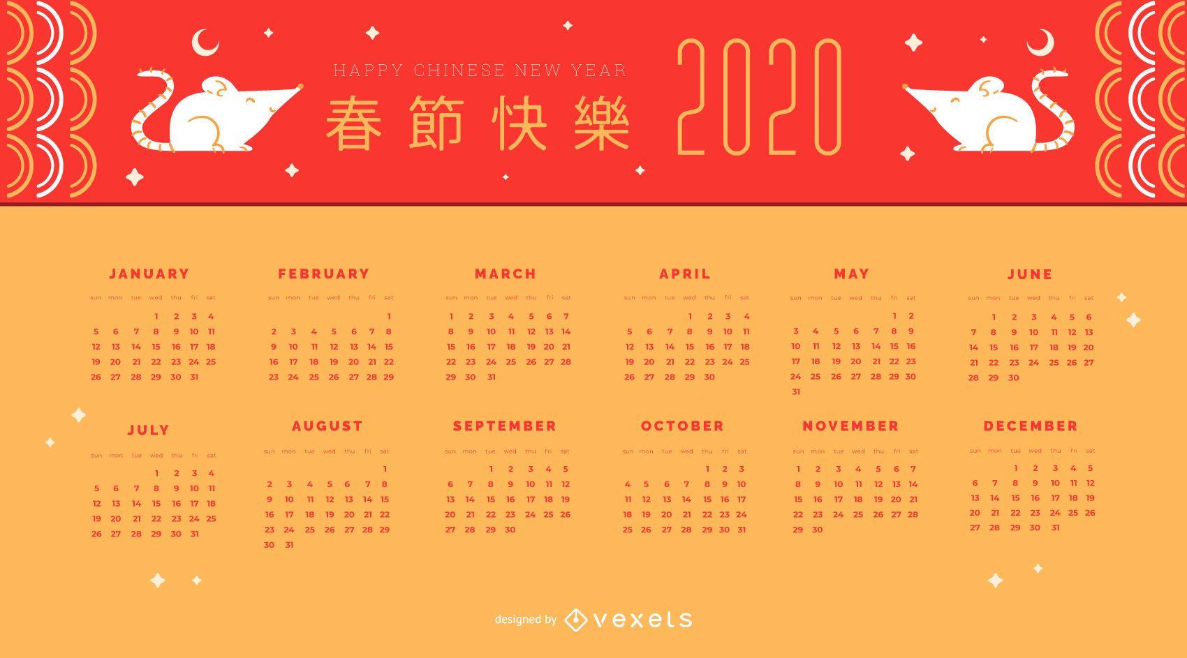 Diseño de calendario de ratas de año nuevo chino
