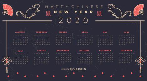 Design do calendário chinês para o ano novo de 2020