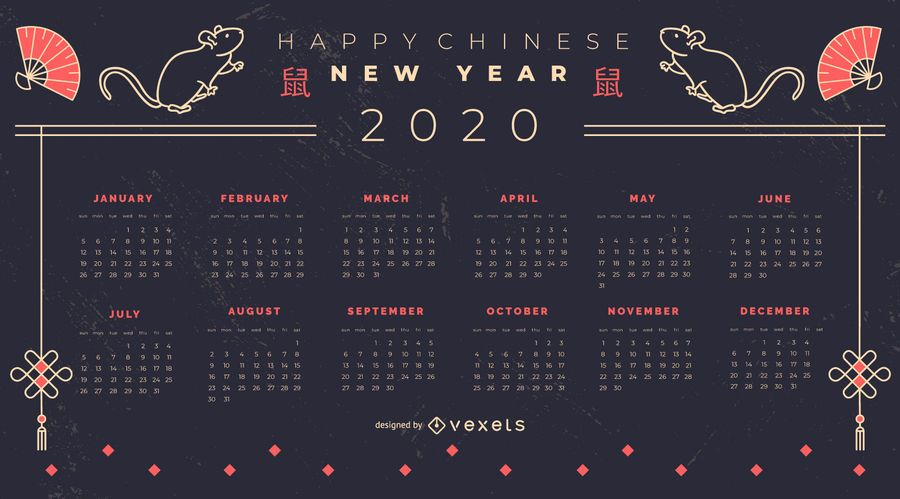 Chinese New Year 2020 Calendar Design Vector Download