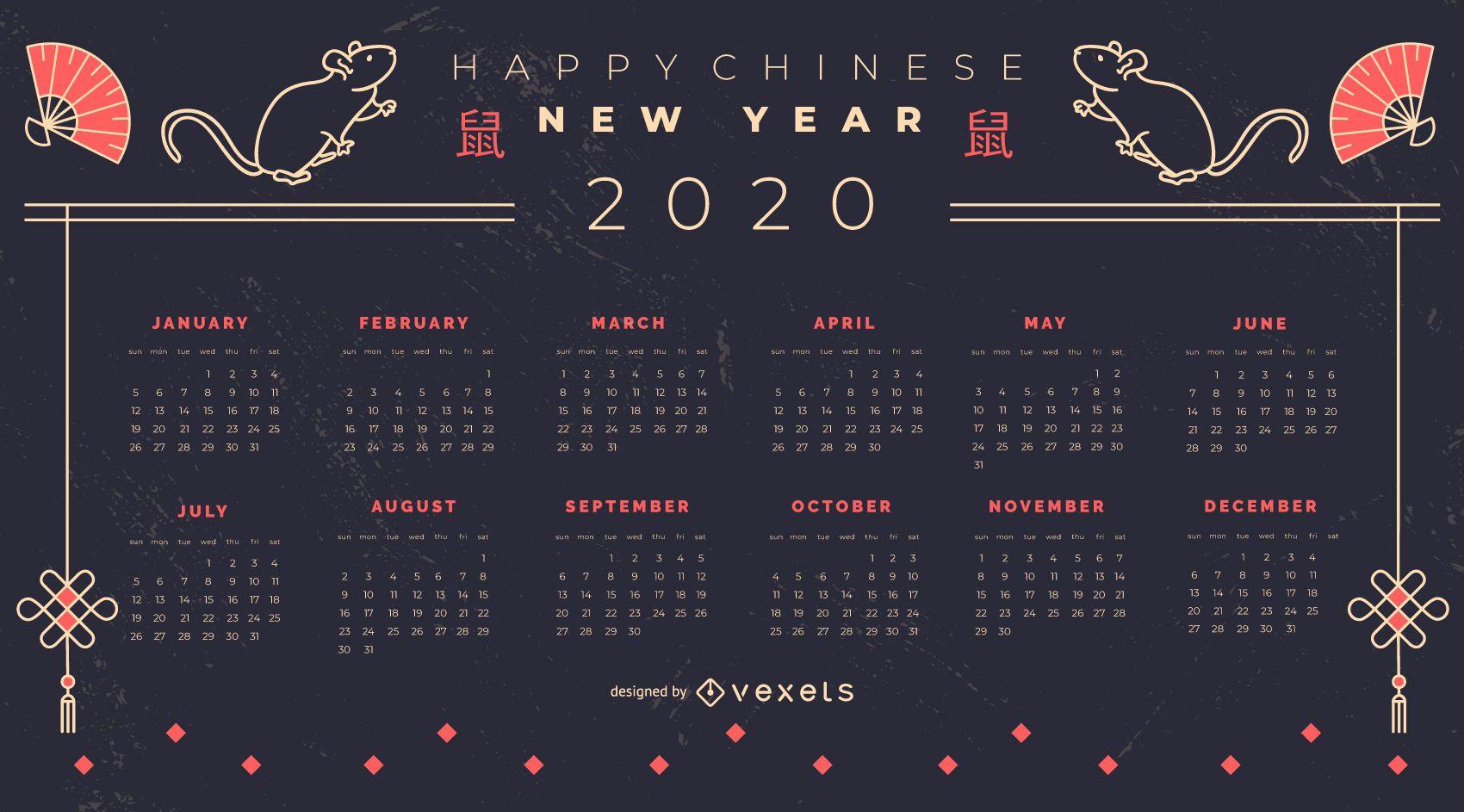 Diseño de calendario de año nuevo chino 2020