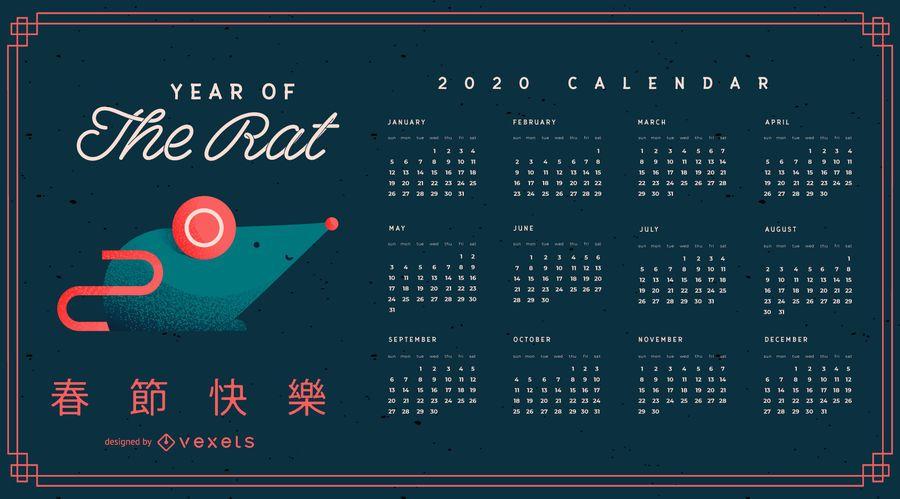 Design do calendário do ano do rato chinês