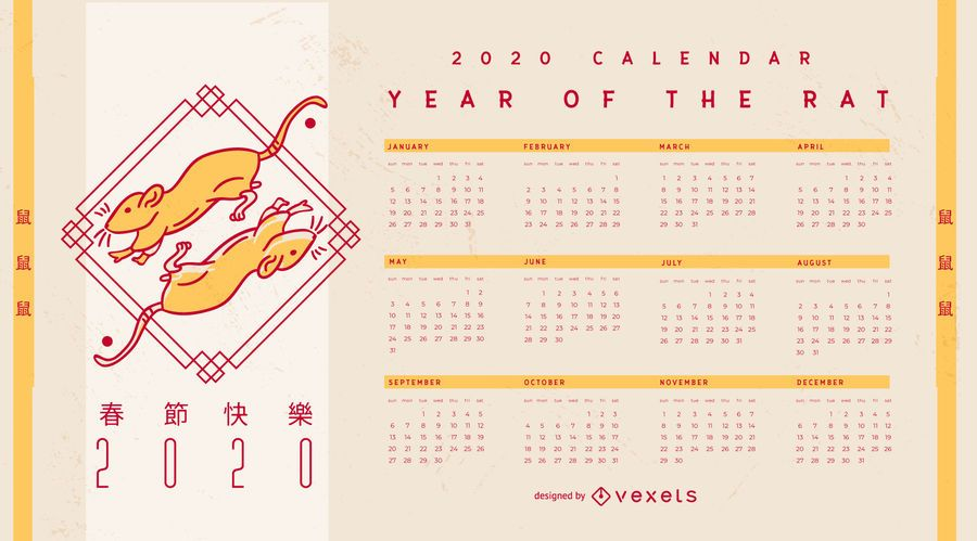 Calendario editable de año nuevo chino