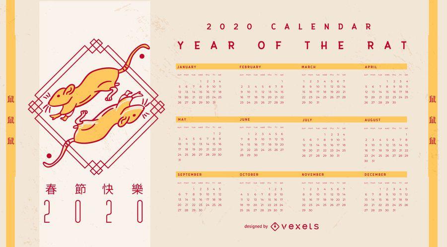 Calendário editável do ano novo chinês