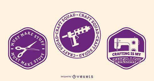 Conjunto de emblemas de confecção