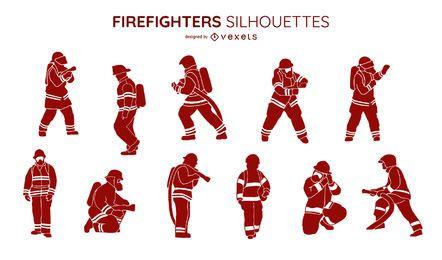 Colección de silueta de bomberos