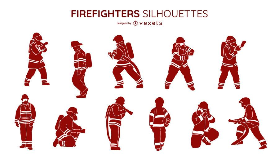 Firefighters silhouette collection