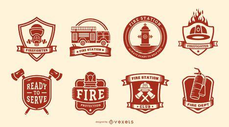 Conjunto de distintivos de bombeiros