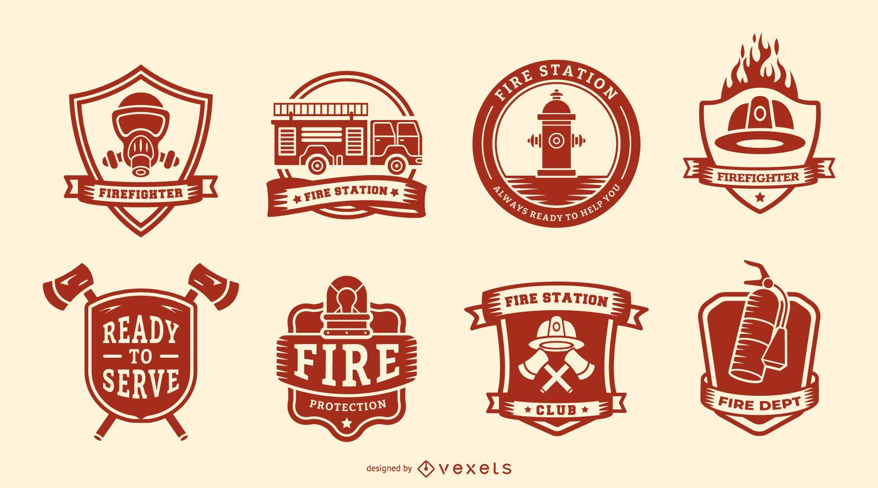 Conjunto de crachá de bombeiros