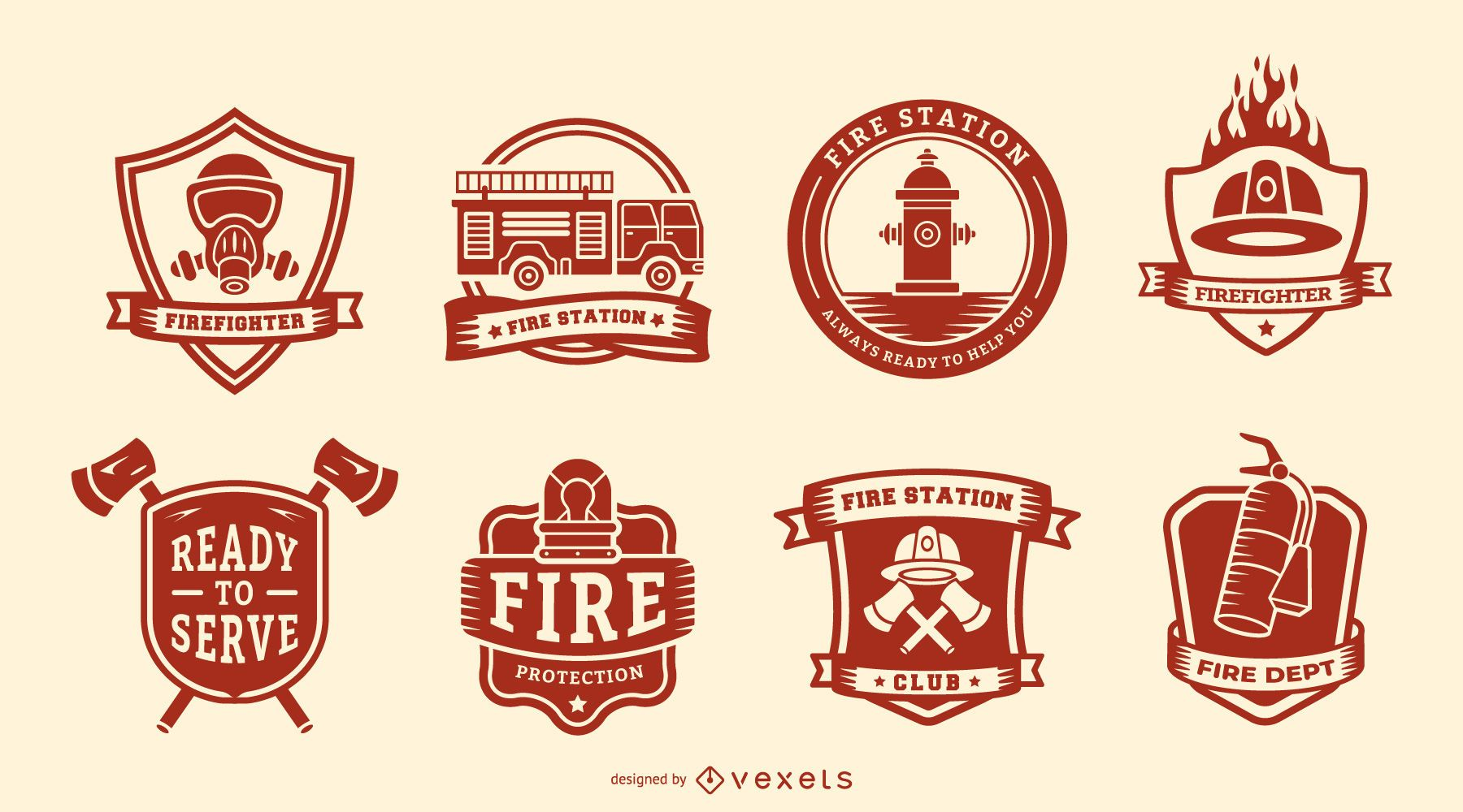 Firefighters badge set