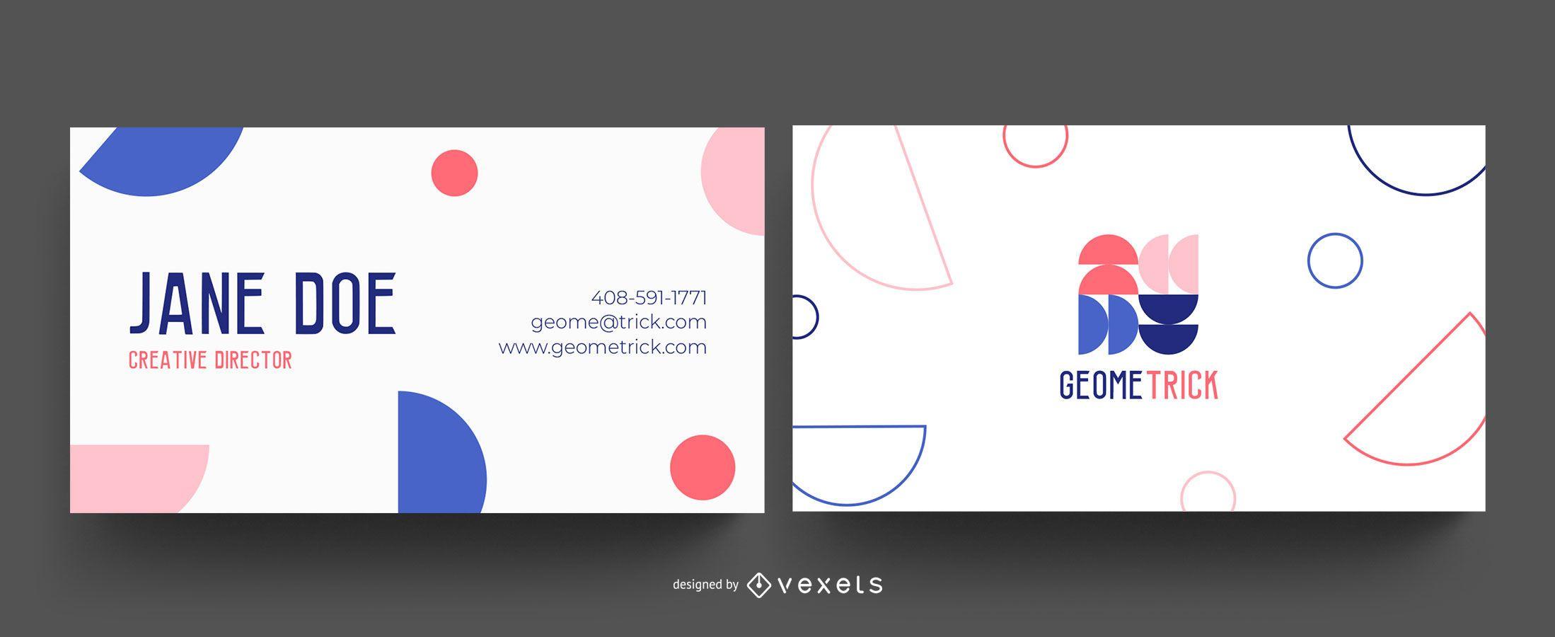 Cartão de visita com formas geométricas