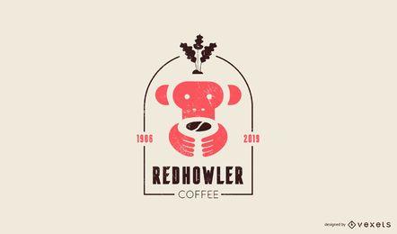 Plantilla de logotipo de mono de café