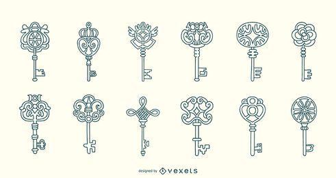 Coleção de traços de chaves ornamentais