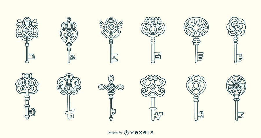 Colección de trazos de teclas ornamentales