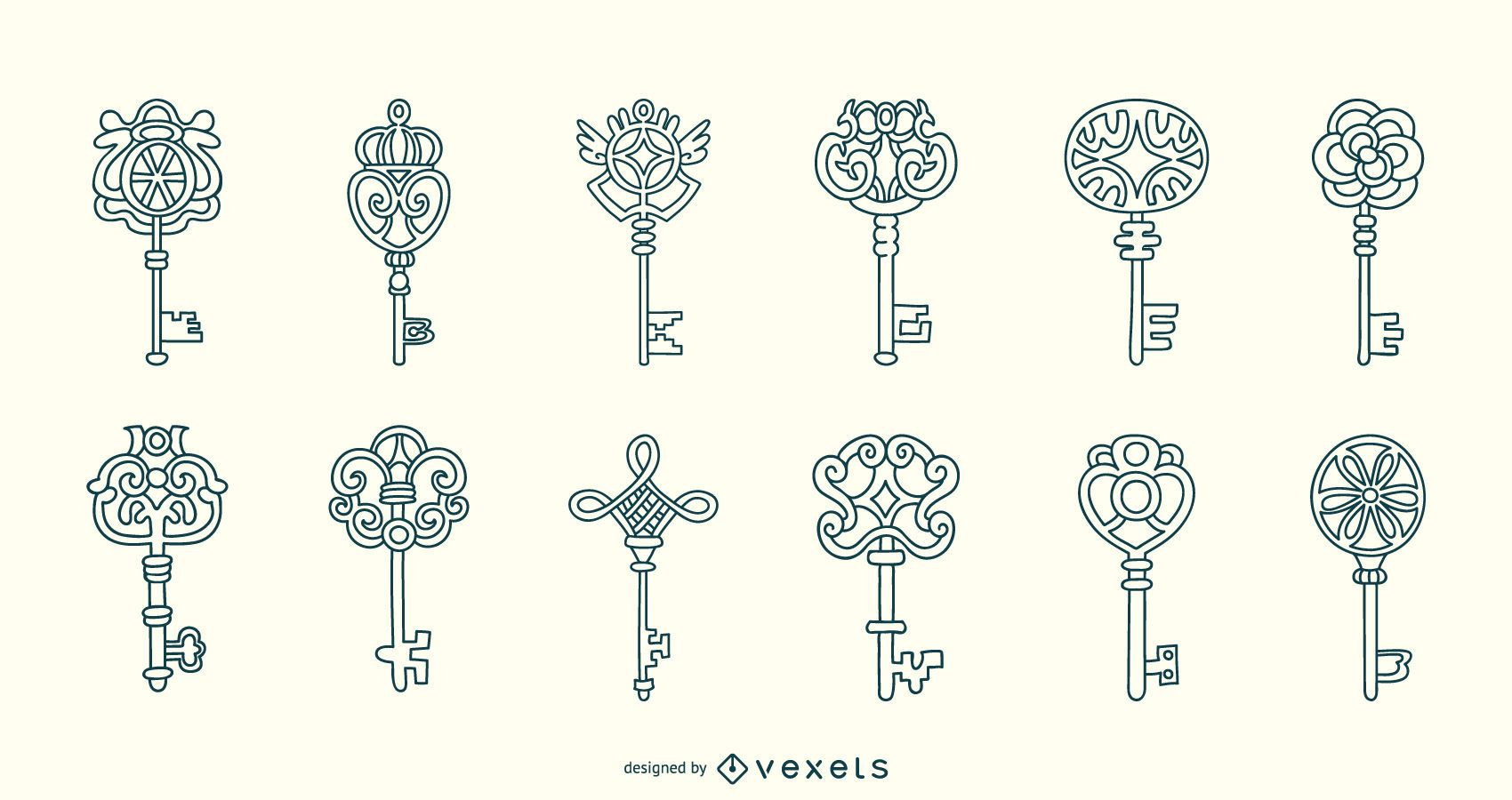 Ornamental keys stroke collection