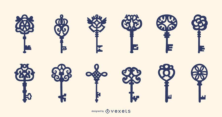 Coleção de chaves ornamentais