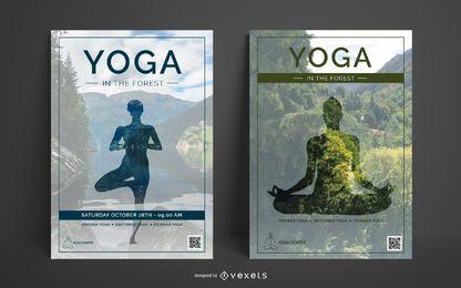 Plantilla de póster de centro de yoga