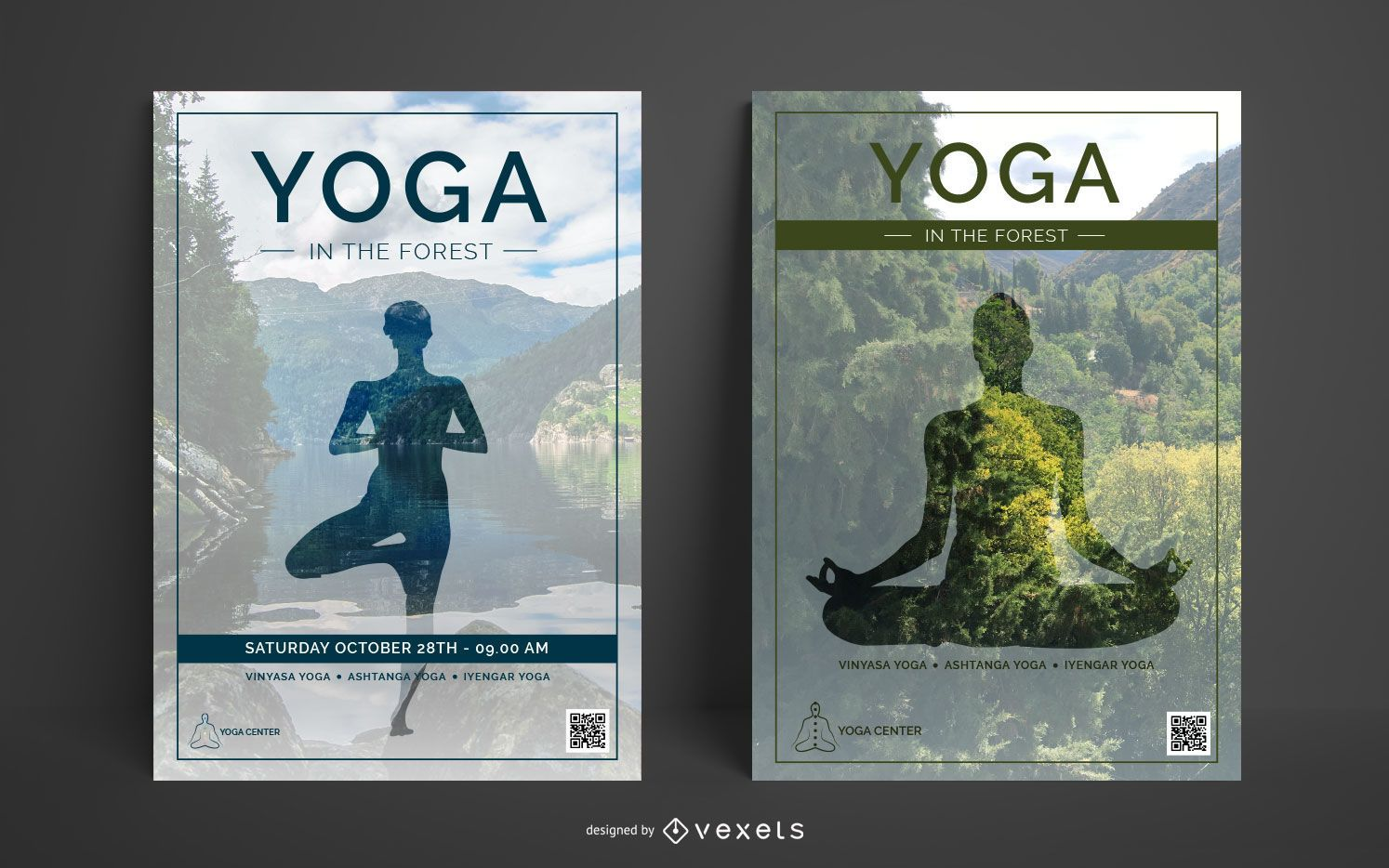 Plantilla de cartel de centro de yoga