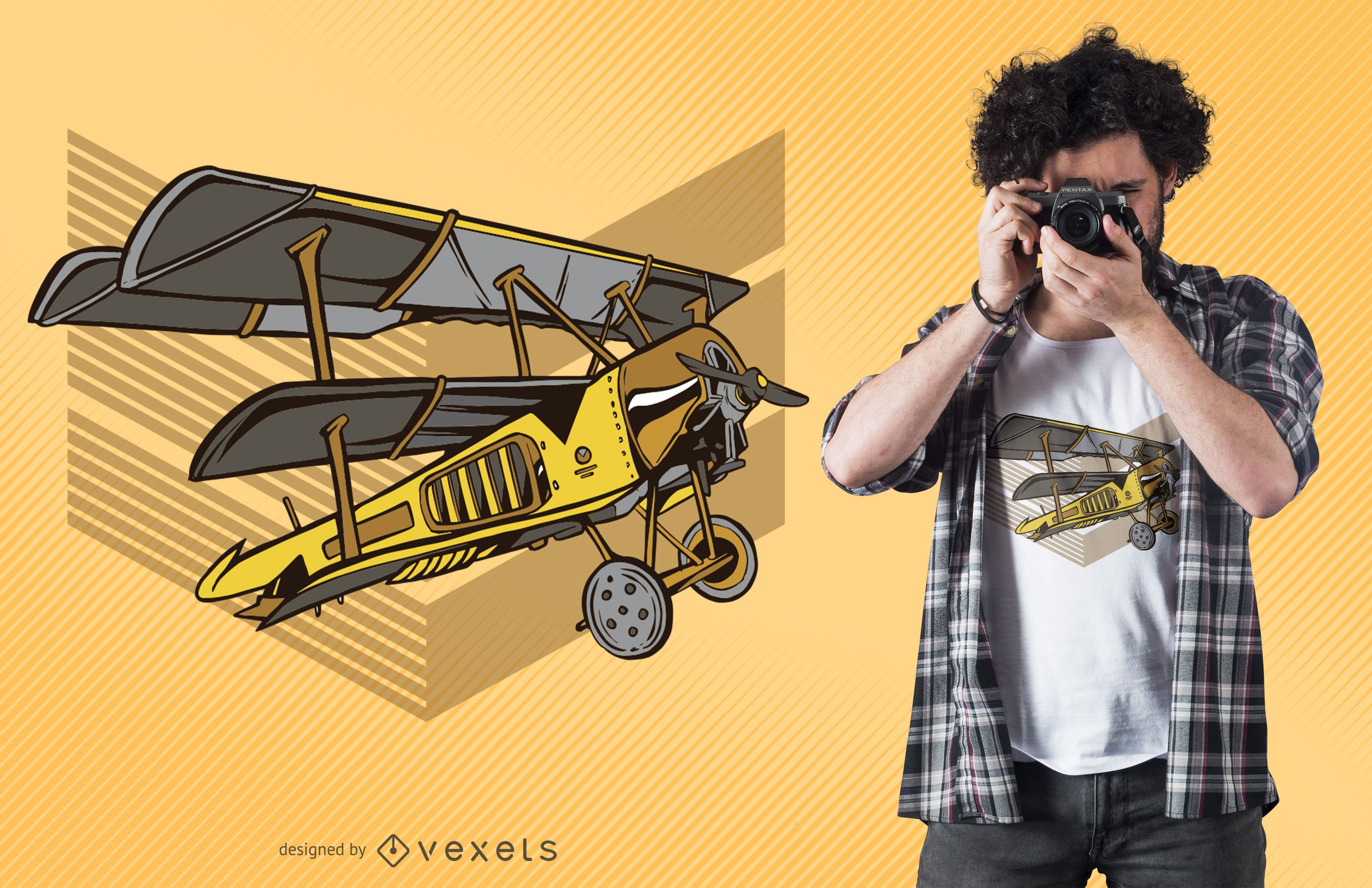 Steampunk plane t-shirt design