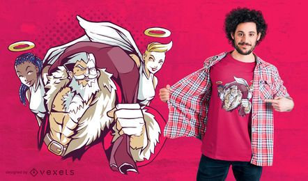 Santa angels t-shirt design