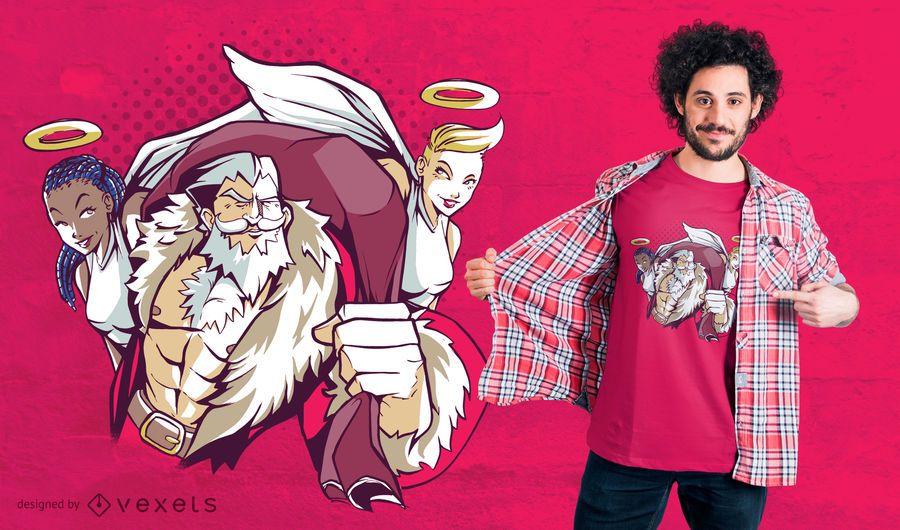 Design de t-shirt de anjos de Papai Noel