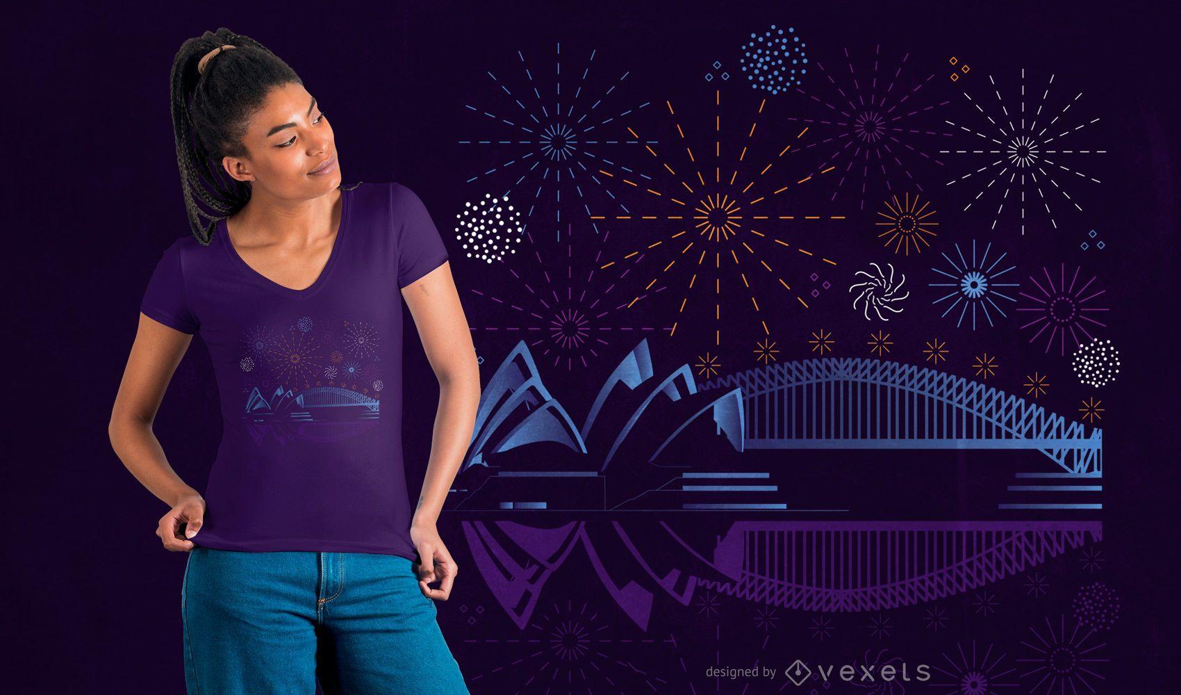 Diseño de camiseta de fuegos artificiales de Sydney