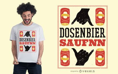 Diseño de camiseta alemana de cerveza enlatada