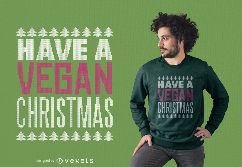 Vegan christmas t-shirt design
