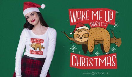 Diseño de camiseta de perezoso navideño.