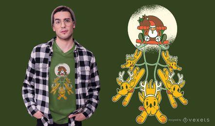 Diseño de camiseta de perros santa