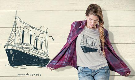 Vintager Kreuzfahrt-T-Shirt Entwurf