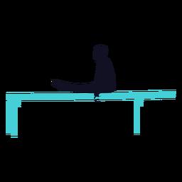 Ginasta exercício homem paralelo bar silhueta