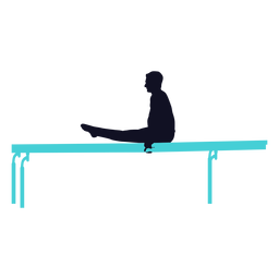 Gymnast exercise man parallel bar silhouette