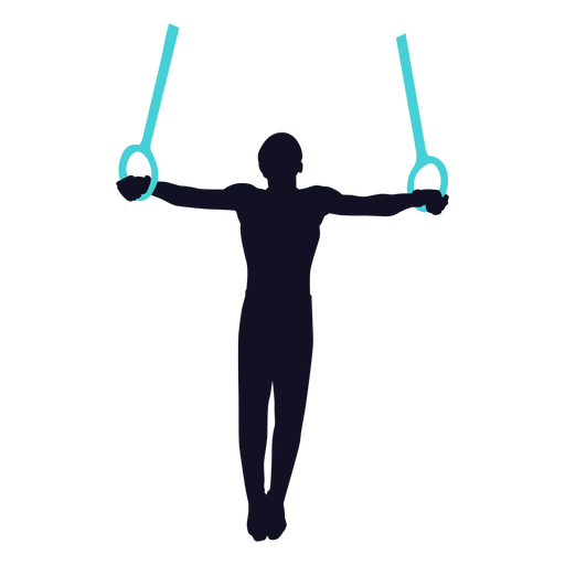 Gymnast exercise man still rings silhouette