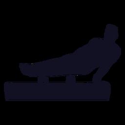 Gimnasta ejercicio hombre salto caballo pomo caballo silueta