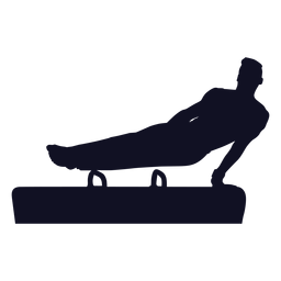 Gymnast exercise man vaulting horse pommel horse silhouette