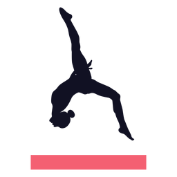 Gymnast exercise woman balance beam silhouette