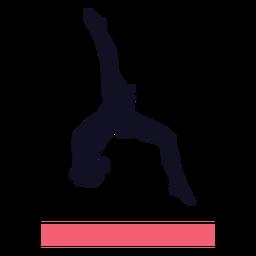 Silhueta da trave de equilíbrio da mulher exercício ginasta