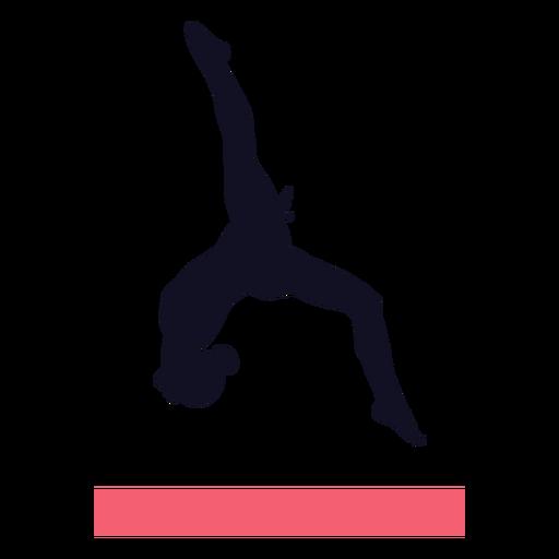 Gimnasta ejercicio mujer silueta de viga de equilibrio