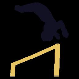 Ginasta homem exercício barra horizontal silhueta