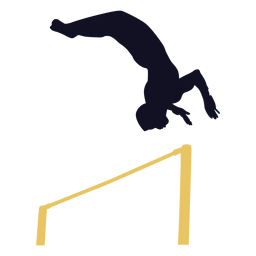 Gymnast man exercise horizontal bar silhouette