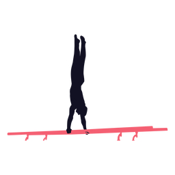 Ginasta homem exercício paralelo barra silhueta