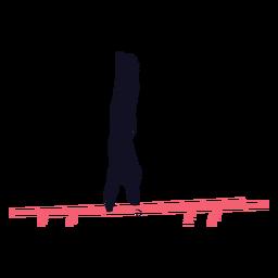 Hombre gimnasta ejercicio barra paralela silueta