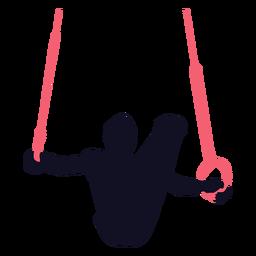 Ginasta homem exercício ainda toca silhueta