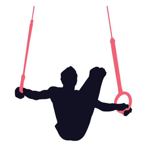 Gymnast man exercise still rings silhouette