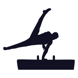 Gymnast man exercise vaulting horse pommel horse silhouette
