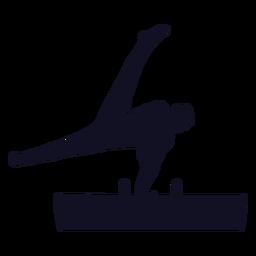 Hombre gimnasta ejercicio salto caballo caballo con arcos silueta